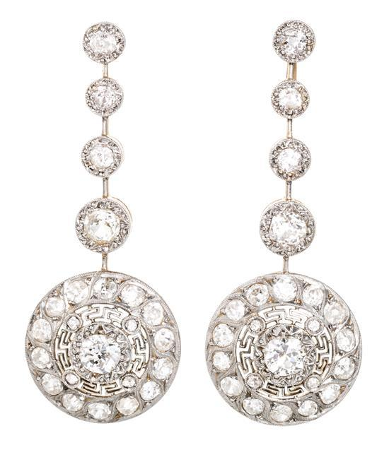 Long Belle Epoque earrings, circa 1910