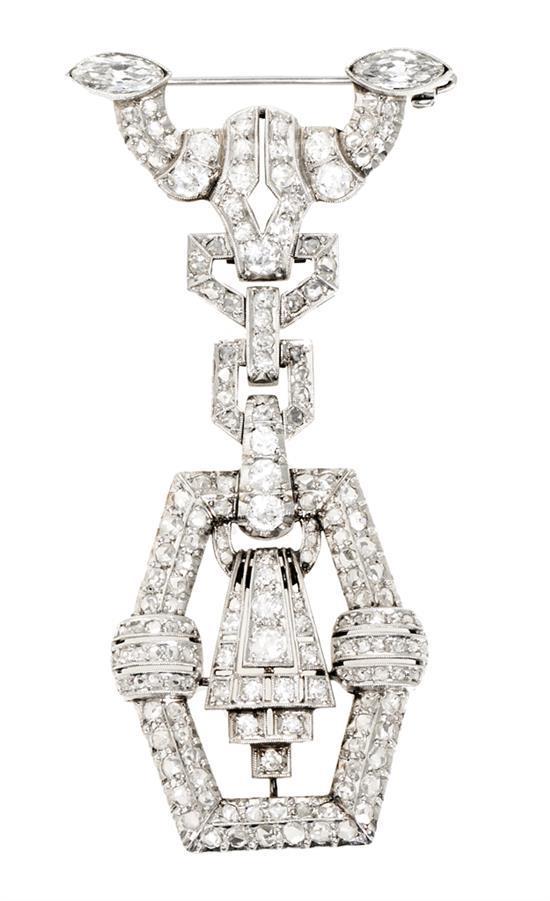 Broche colgante Art Déco de diamantes, hacia 1930