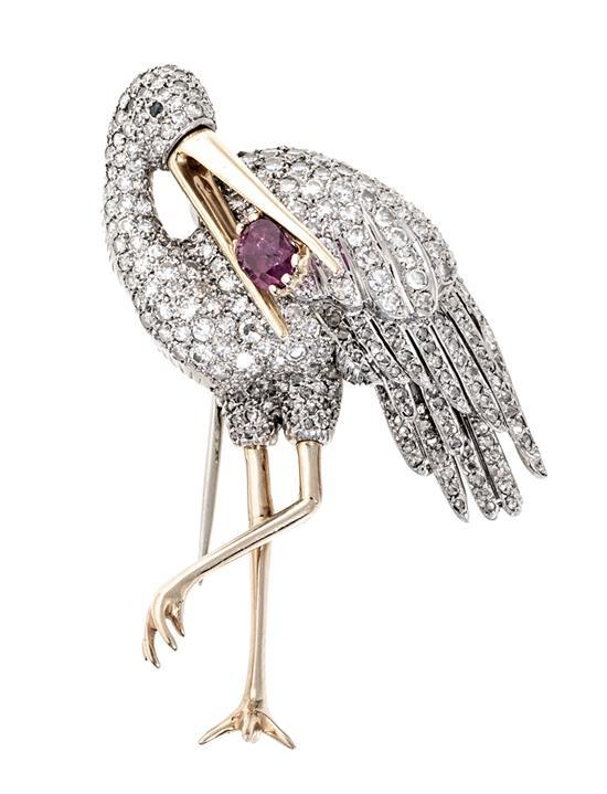 Roca Jewellery, a stork-shaped diamond brooch, circa 1950