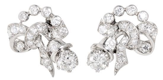 Diamond floral earrings, circa 1950