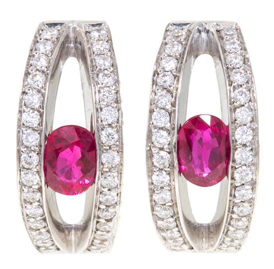 Pendientes rusos de rubíes y diamantes