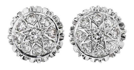 Pendientes rosetón de diamantes