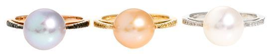 Conjunto de tres sortijas de perlas y diamantes