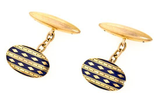 Cufflinks in gold and enamel