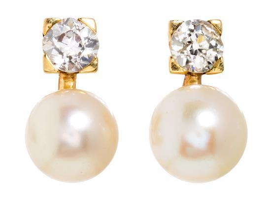 Toi et moi diamond and pearl earrings