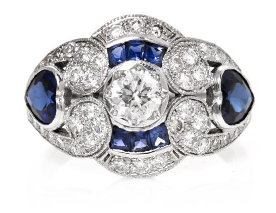 Sortija de zafiros y diamantes de estilo Art Déco