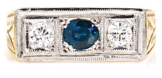 Sortija tresillo con zafiro y diamantes