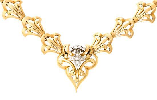 Gargantilla en oro y diamantes, hacia 1940