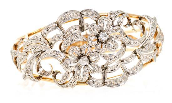 Pulsera esclava en oro y diamantes, hacia 1940