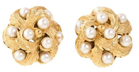 A pair of gold and pearl earrings, circa 1960