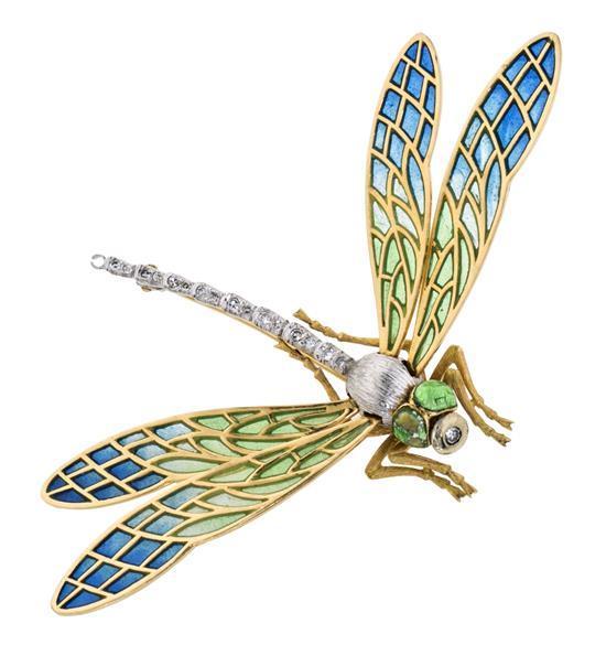 Broche en forma de libélula, de mediados del siglo XX