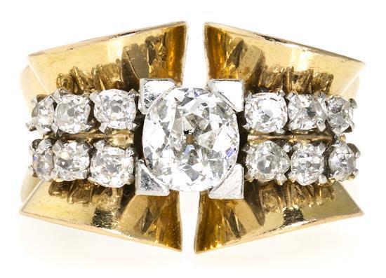 Sortija chevalière de diamantes, hacia 1940
