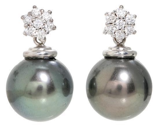 Pendientes colgantes de perlas de Tahití