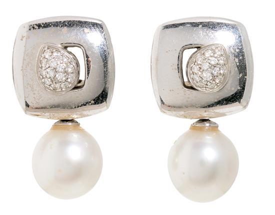 Joyería Chimento, pendientes tú y yo de perlas y diamantes