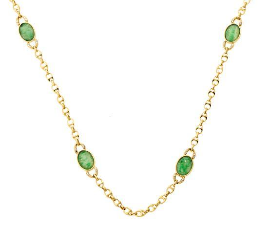 Collar largo con jade y diamantes