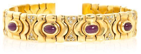Pulsera en oro, rubíes y diamantes, hacia 1990