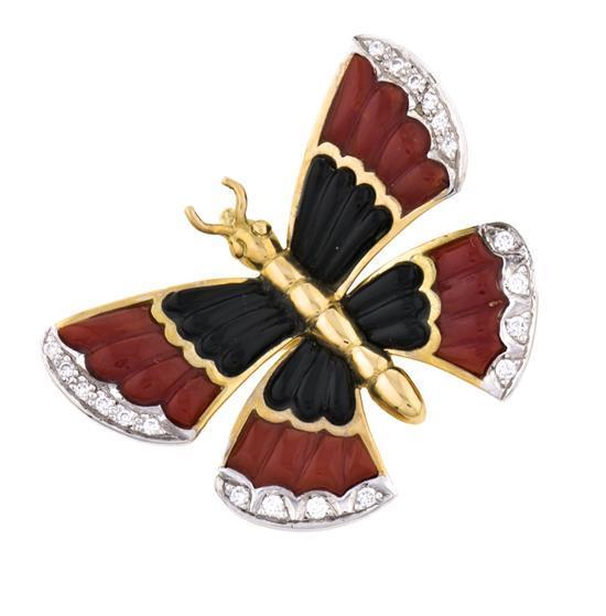 Joyería Puig Doria, broche colgante en forma de mariposa, hacia 1980