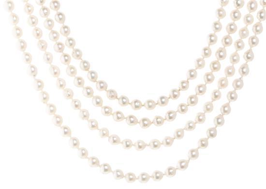 Collar de cuatro hileras de perlas