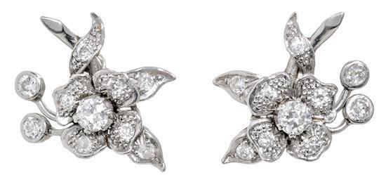 Pendientes florales de diamantes, hacia 1950