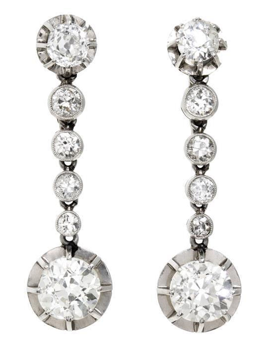 Pendientes largos de diamantes, de la primera mitad del siglo XX