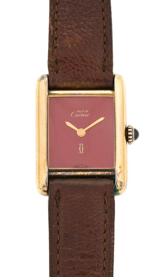 Cartier, Must, reloj de pulsera de señora en plata dorada