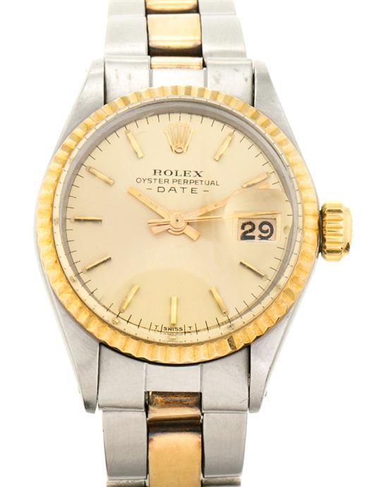 Rolex, Date, reloj de pulsera de señora en acero y oro