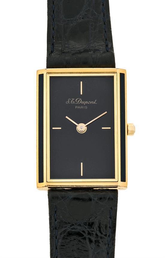 Dupont, reloj de pulsera de señora en metal dorado y laca