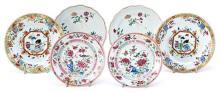 Seis platos chinos en porcelana de Compañía de Indias, del siglo XVIII