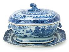 Fuente y sopera chinas en porcelana de Compañía de Indias del siglo XVIII