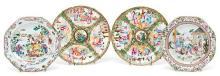 Cuatro platos chinos en porcelana de Compañía de Indias y de Cantón, de los siglos XVIII y XIX