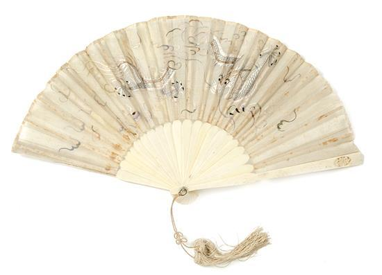 Chinese fan with carved ivory sticks, 19th century