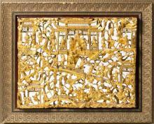Escuela china de Ningpo de finales del siglo XIX-primer tercio del siglo XX Escenas de palacio Tres relieves en madera tallada, cal...