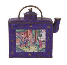 Tetera china en cobre esmaltado de Cantón, de finales del siglo XIX