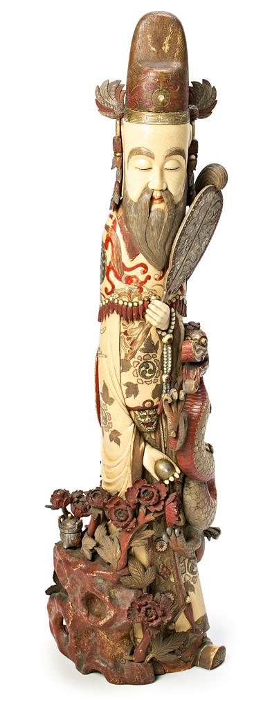 Chinese school of the Qing dynasty, late 19th Century Emperor Sculpture in carved, gilded and polychrome ivory Incrustations in mother