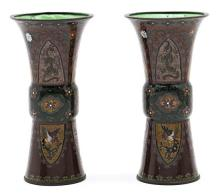 Pareja de jarrones chinos de estilo arcaico en cobre esmaltado en