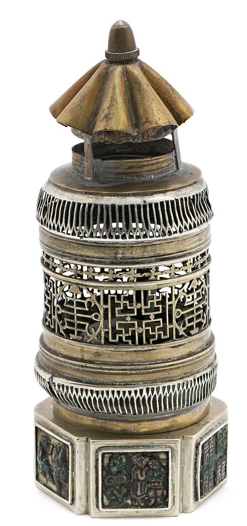 Quemador de incienso chino en plata, latón y cobre, de principios del siglo XX