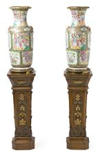 Pair of Chinese Canton porcelain vases, European gilt-bronze mounted, late 19th-early 20th century