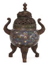 Incensario chino en bronce esmaltado en