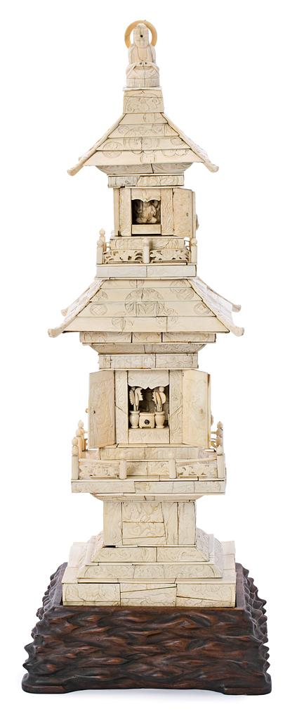 Templo doble japonés Meiji en marfil, del siglo XIX