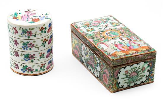 Two Chinese Canton porcelain boxes, late 19th Century