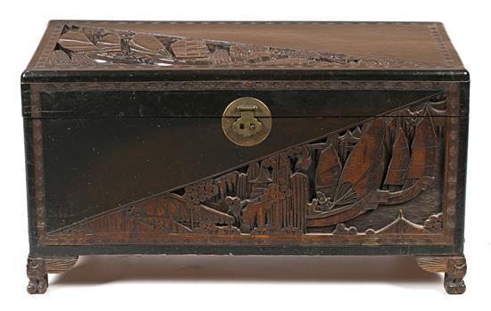 Chinese large carved wood chest, second third of the 20th Century