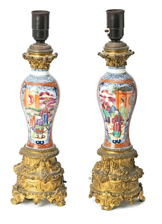 Pair of Chinese porcelain Mandarin-style vases, French gilt-bronze mounted, early 20th century