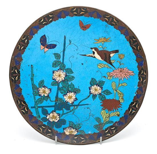 Japanese enamelled copper plate, 19th Century
