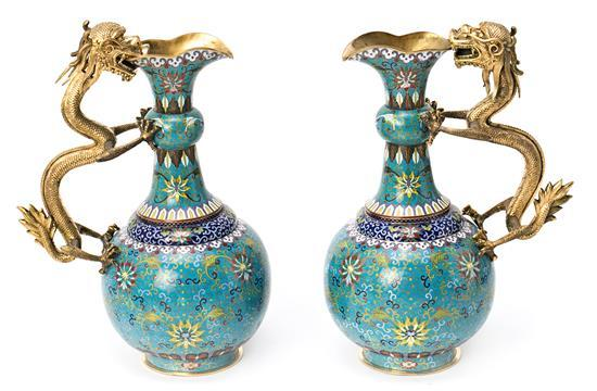 Pair of Chinese gilt and