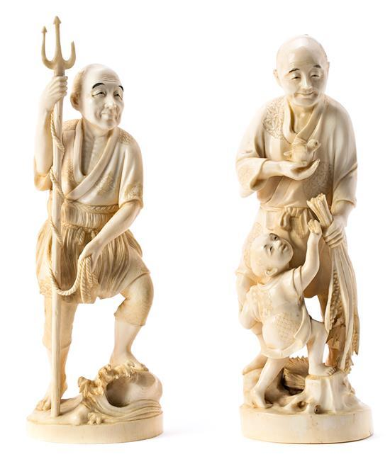 Japanese Meiji school, early 20th century Fisherman and figures with bird