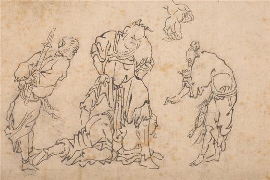 Escuela japonesa del siglo XIX Personajes mitológicos Cuatro xilografías