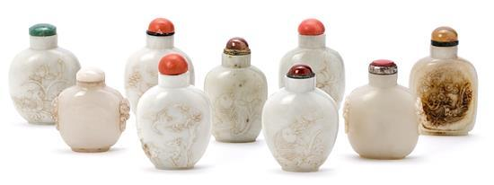 Nine Chinese tobacco jars in nephrite jade, mid 20th century