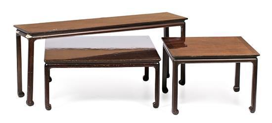 Matching Chinese-style centre table and two side tables in mahogany-coloured wood by Pierre Lottier, mid 20th Century