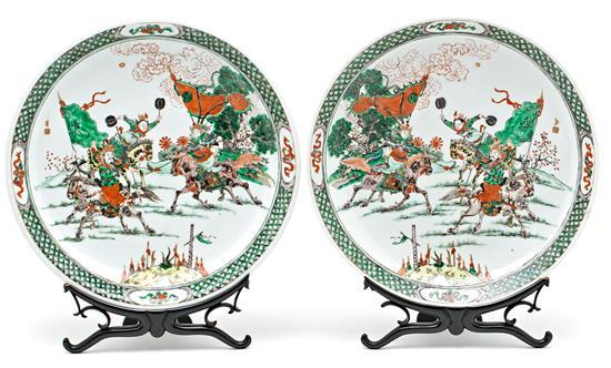Pair of Chinese Famille Verte porcelain plates, late 19th century