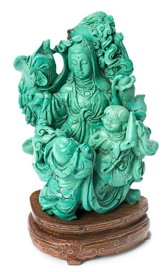 Escuela china del segundo tercio del siglo XX Diosa Escultura en turquesa tallada